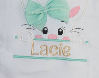 3D Bow Personalized Easter Bunny Peeker Shirt for Toddler or Bodysuit for baby ~ First Easter Bodysuit or Shirt