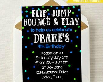 Trampoline birthday party invitation Bounce house invitation