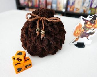 Dragon Scale - Brown - DICE BAG - Crochet