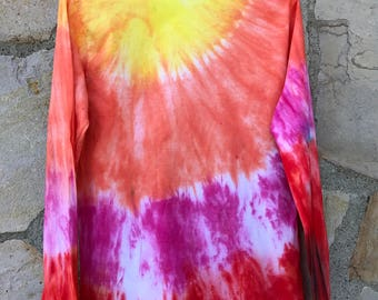 Tequila Sunrise Tie Dye Unisex Small Long Sleeve Tee Shirt