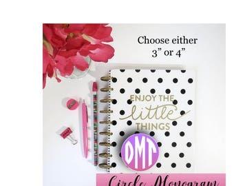 Monogram Planner Die Cuts | Circle Monogram Ephemera | Monogram | Monogram Planner decoration | Planner Die Cuts | TN | Travelers Notebook