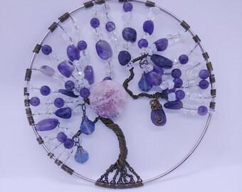 Tree of life 5 x 5 Wall / Window Hanging-Amethyst-Opalite-Agate-Crystal