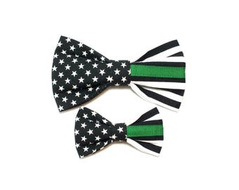 Thin Green Line Flag Dog Bow Tie, pet bow tie, collar bow tie, wedding bow tie, police officer, fallen