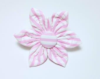 Pink Seersucker, wide stripes,  Flower for Dog collar, Cat collar, collar flower, pet collar flower, wedding flower, flowers for dog collars