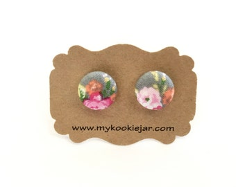 Flower Stud Earrings, Pastel Floral Fabric Button Earrings, Flower Jewelry, Lightweight, Kids Earrings, Handmade Gift Idea, Floral Studs