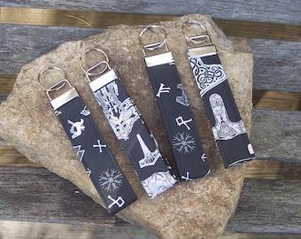 Viking Heathen Symbol Key Fob - Mjolnir Thor Odin Rune Handbag Accessory Keychain - Gift Under 10 Dollars - Stocking Stuffer - Party Favor