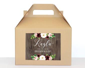 Bridesmaid Proposal Box Will You Be My Bridesmaid Box Bridesmaid Proposal Gift Fall Winter Wedding Gift Box, Bridal Party Gift (BF)