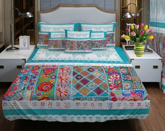 Shabby Cottage Turquoise  Comforter or Duvet Cover Boho Chic Bedding, Twin Full Queen King