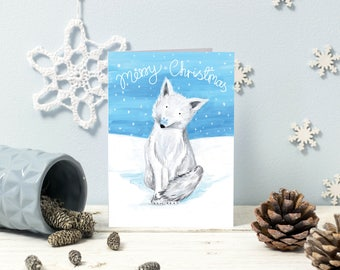 Cute Christmas Card design | Arctic Fox in the snow | Single card or multipack option