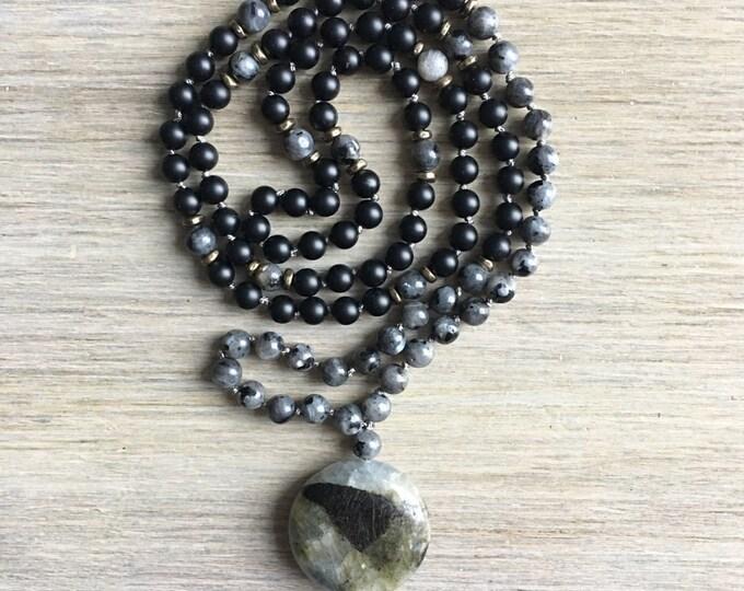 Black Labradorite Onyx Mala Bead, 108 Mala, Gemstone, Handmade, Hand-knotted, Meditation, Yoga, Prayer Beads, Chakra, Healing
