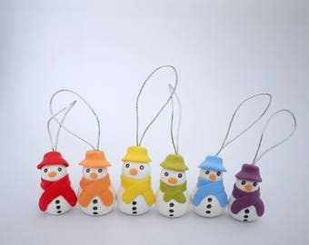 Rainbow Snowmen Christmas Tree Decorations