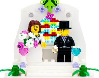 LEGO Wedding Cake Topper for Wedding Cakes with LEGO Bride and Groom - Custom Cake Topper, Made with Genuine LEGO Minifigures and Parts