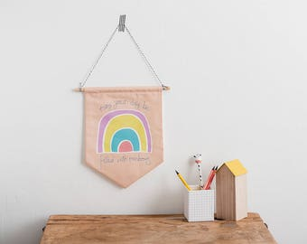 Rainbow Wall decor, Wall hanging, Nursery art, Pennant Flag, Rainbow nursery, Unicorn nursery, Children's wall art, Motivational art