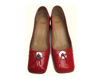 1960s Charles JOURDAN red patent leather MARY JANES shoes // size eu 40 - uk 6.5- us 8