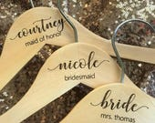 Bridesmaid gift - Wooden ENGRAVED Hanger - NOT stickers or sharpies! - Bridal Dress Hanger Calligraphy names dates and titles!!