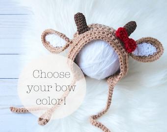 Crochet Deer Hat, Baby Deer Bonnet, Reindeer Hat, Reindeer Hat, Knit Deer Hat, Newborn Deer Outfit, Baby Deer Costume, Rudolph Baby Hat