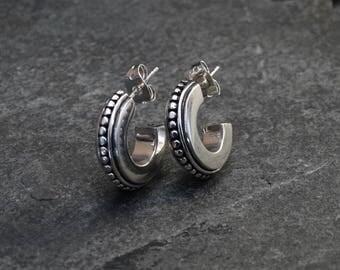 Silver Hoops, Silver Hoop Earrings, Detailed Silver Hoops, Stud Hoops, Post Hoops, Bali Hoops, Boho Hoops, Sterling Silver 925