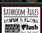Bathroom Rules Sign | Cutting & Printing File | Digital Download | svg | eps | dxf | png | Home Decor | Brush | Floss | Wash Your Hands