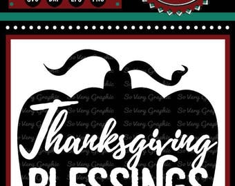 Thanksgiving Blessings Pumpkin | Cutting File & Printable | SVG | eps | dxf | png | Fall | Autumn | Blessed | Grateful | Gratitude | Decor
