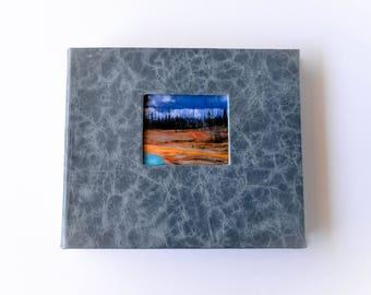"Light Blue Lambskin Photo Album, Landscape 7.5"" x 9"""