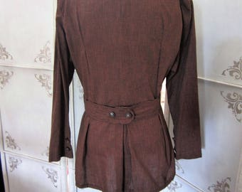Retro 1940's Brown and Black Checked Suit Handmade Size Small