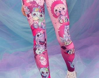 Printed Leggings, Womens Pants, Animal Leggings, Anime Leggings, Pink Leggings, Purple Leggings, Cosplay Leggings, Gift for Girlfriend