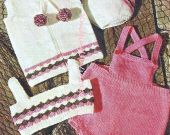 Baby Knitting Pattern pdf Baby Romper, Waistcoat, Top and Pants