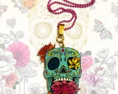 Dia de los Muertos, Skull, Kitch, Gothic, Sugar skull, floral decor, Orange, Gold, Red, Roses, Ball chain, Frida Kahlo, Statement necklace