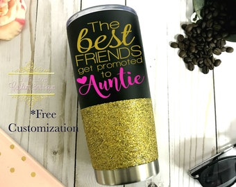 Promoted to Auntie Mug Friend Aunt New Aunt Gift Pregnancy Announcement for Auntie Mother's Day Christmas Stainless Steel Coffee Travel Mug