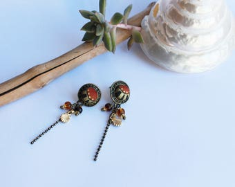 Earrings pendants shells. cabochon fabric Japanese Red rising sun