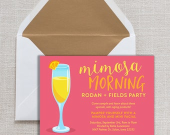 Big Business Launch Invitation, Rodan and Fields Skin Regimens, Rodan and Fields Cards, Independent Consultant Card, Mimosa Morning Invite