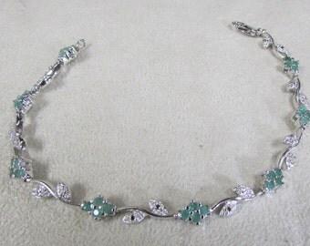 Sterling Silver, Emerald and CZ Link Bracelet