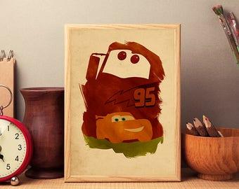 Walt Disney Pixar Cars Minimalist Movie Poster, Disney Cars Artwork