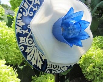 yard art-plate flower-glass garden art flower-upcycled glass, repurposed, garden decor, garden ornament, gardeners gift idea-glass art