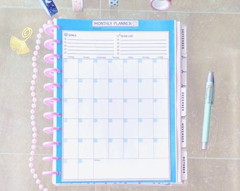 Big Happy Planner Inserts Monthly PLANNER Printable PDF Letter Size Undated Goals Projects Monthly To Do List Blue Inserts Instant Download