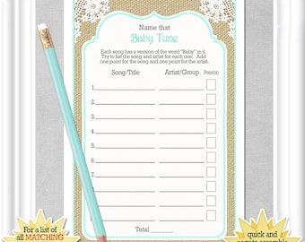 """Instant Download Baby Shower """"NAME That TUNE game"""" in a rustic theme with aqua accents & burlap, Instructions and song list included, 132BA"""