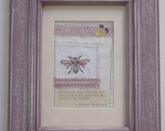 Handmade Vintage Textile Wild Flower and Embroidered Lace Mixed Media Picture