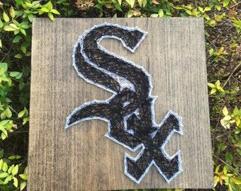 Chicago White Sox Baseball Sports Team, Man Cave, String Art Wood Sign