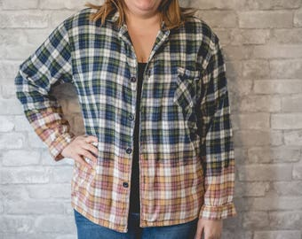 Large navy, green and white flannel pajama shirt