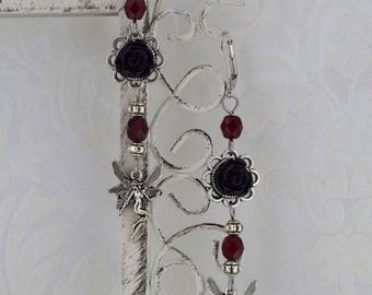 Fairy Rose - Small Dangle Fairy Earrings - Dark Red and Black Fairy Earrings - Fantasy Victorian Earrings - Fae Jewelry - Ready to ship