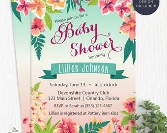 Chalkboard tropical bridal shower invitation island flowers tropical baby shower invitation island flowers hawaiian luau girl tropical baby shower invite stopboris Choice Image