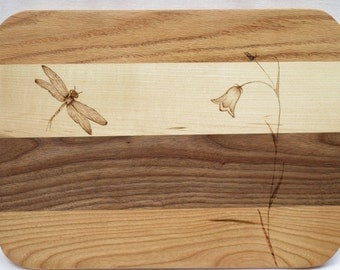 wood cutting board with dragonfly