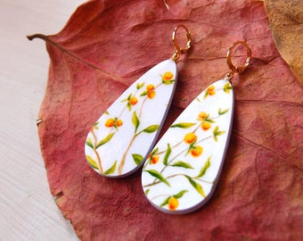 Teardrops dangle earrings LONICERA (chaparral honeysuckle), paper painted earrings in botanical style, lighweight earrings, eco friendly