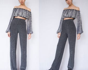 WIDE LEG TROUSERS -90, party, disco, gray, shiny, glitter, silver, night, festival, club kid, 80s, palazzo, spice girls-