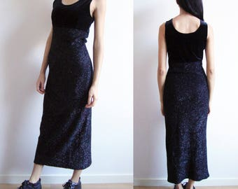 SHINY MAXI DRESS -hairy, fuzzy, velvet, black, sleeveless, 90s, gothic, club kid, cyber, grunge, aesthetic, witch, 80s, party, night, long-