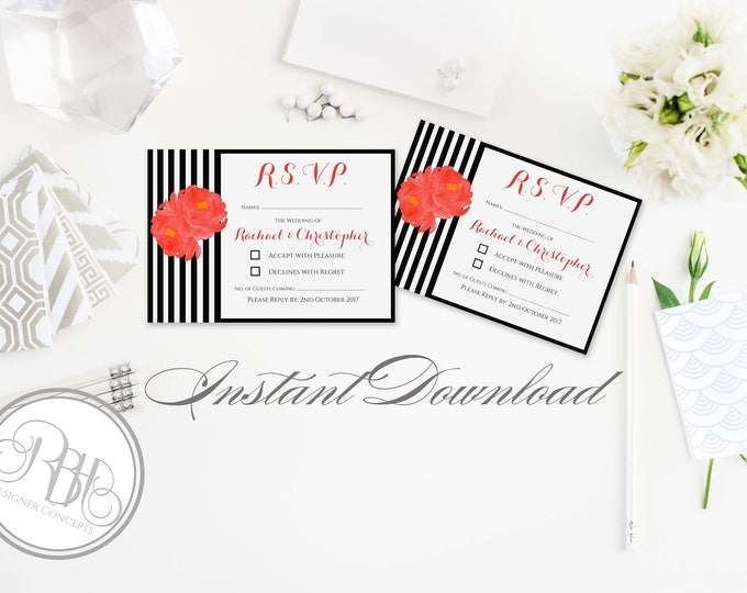 Wedding RSVP Card Template INSTANT DOWNLOAD-Diy Editable Text- Black & White Stripe with Red Peonie-Penelope