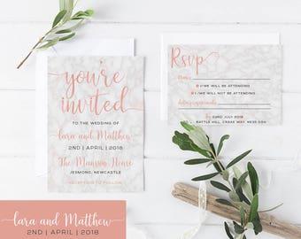 Marble  - Rose  - Wedding Invitations Bundle - Invitation, RSVP and bellyband - Personalised