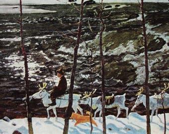 Trail along the river - Artist V. Petrov-Maslakov - Vintage Soviet Postcard, 1967. Eskimo Reindeer North Arctic Tundra Landscape Art Print