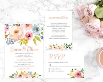 Wedding Invitation Set, Floral Wedding Invitation Set, Rustic Wedding Invitation Suite, Wedding Invitation Package