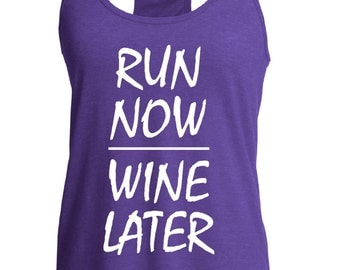 Fast shipping!!  Workout tank. Run now wine later.  Funny fitness top.  Racerback style tank top.  Funny gym tank. Workout.  Running tank